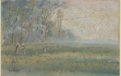 """14.03.21 – Jean-Baptiste Camille Corot – """"Landschaft: Près Bussières"""" (Entstehungszeit nicht genau bekannt)."""