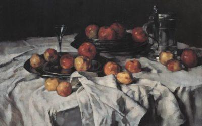 """24.05.21 – Carl Schuch – """"Stillleben mit Äpfeln, Weinglas und Zinnkrug"""" (ca. 1876)."""