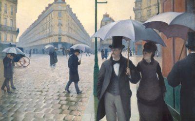 """04.07.21 – Gustave Caillebotte – """"Straße in Paris an einem regnerischen Tag"""" (1877)."""