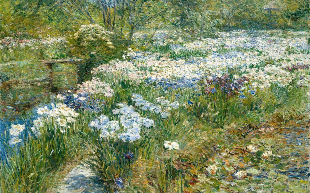 "29.08.21 – Frederick Childe Hassam – ""The Water Garden"" (1909)."